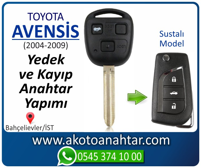 toyota avensis anahtari anahtar key yedek yaptirma fiyati kopyalama cogaltma kayip 2004 2005 2006 2007 2008 2009 model - Toyota Avensis Anahtarı | Yedek ve Kayıp Anahtar Yapımı