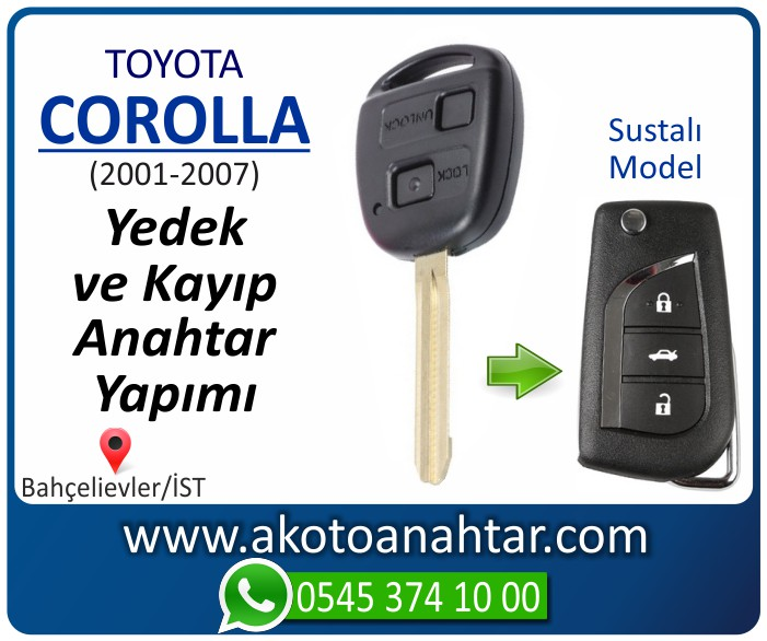 toyota corolla anahtari anahtar key yedek yaptirma fiyati kopyalama cogaltma kayip 2001 2002 2003 2004 2005 2006 2007 model - Toyota Corolla Anahtarı | Yedek ve Kayıp Anahtar Yapımı
