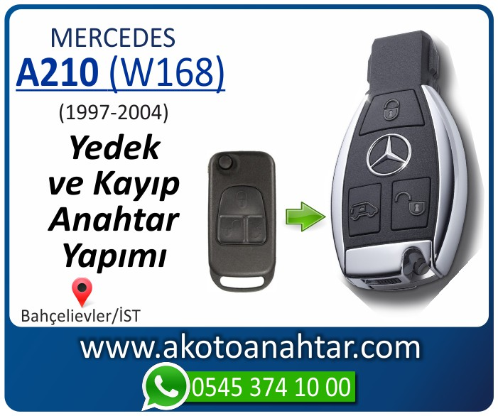 Mercedes A210 W168 Anahtarı 19981999 2000 2001 2002 2003 2004 - Mercedes A-Serisi A210 (W168) Anahtarı | Yedek ve Kayıp Anahtar Yapımı
