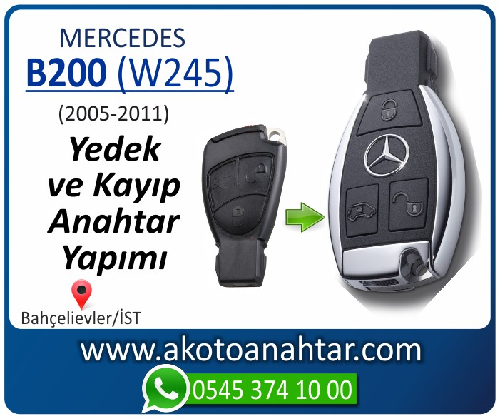 Mercedes B200 W245 Anahtari 2005 2006 2007 2008 2009 2010 2011 - Mercedes B200 (W245) Anahtarı | Yedek ve Kayıp Anahtar Yapımı