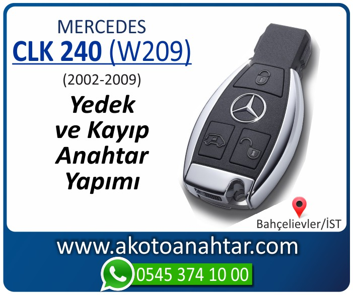 Mercedes CLK240 W209 Anahtari 2002 2003 2004 2005 2006 2007 2008 2009 - Mercedes CLK240 (W209) Anahtarı | Yedek ve Kayıp Anahtar Yapımı