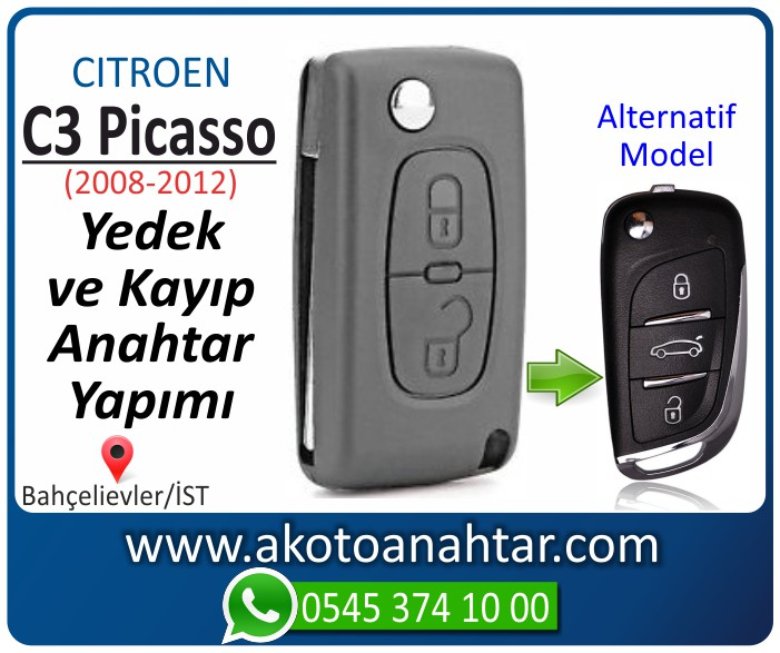 Citroen C3 c 3 picasso anahtari anahtar key yedek yaptirma fiyati kopyalama cogaltma kayip 2008 2009 2010 2011 2012 model - Citroen C3 Picasso Anahtarı | Yedek ve Kayıp Anahtar Yapımı