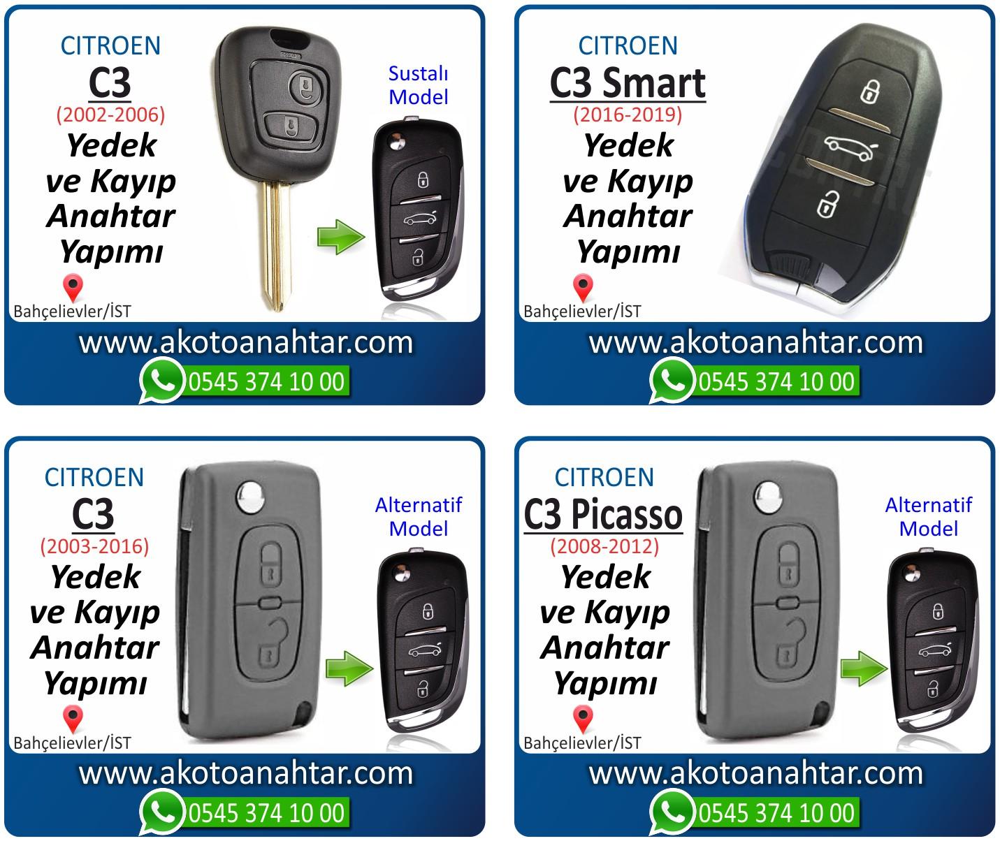 Citroen c3 c 3 anahtari - Citroen C3 Sustalı Anahtarı | Yedek ve Kayıp Anahtar Yapımı