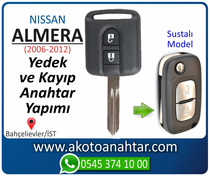 Nissan almera sustalı anahtari anahtar key yedek yaptirma fiyati kopyalama cogaltma kayip 2006 2007 2008 2009 2010 2011 2012 model - Nissan Almera Anahtarı | Yedek ve Kayıp Anahtar Yapımı
