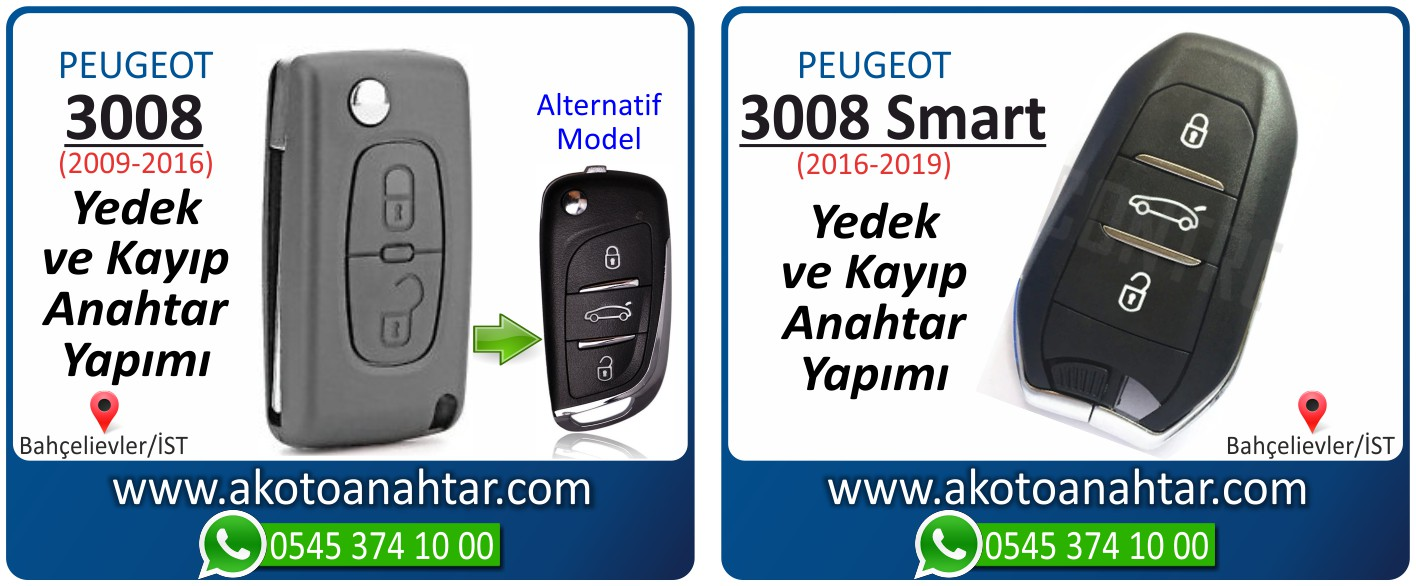 Peugeot 3008 anahtari - Peugeot 3008 Smart Anahtarı | Yedek ve Kayıp Anahtar Yapımı