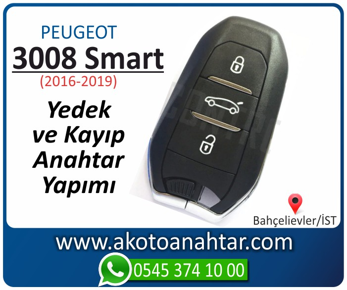 Peugeot 3008 smart anahtari anahtar key yedek yaptirma fiyati kopyalama cogaltma kayip 2016 2017 2018 2019 model - Peugeot 3008 Smart Anahtarı | Yedek ve Kayıp Anahtar Yapımı
