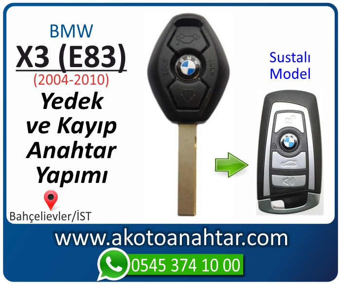 bmw x3 e83 anahtari anahtar key yedek yaptirma fiyati kopyalama cogaltma kayip 2004 2005 2006 2007 2008 2009 2010 model - Bmw X3 (E83) Anahtarı | Yedek ve Kayıp Anahtar Yapımı
