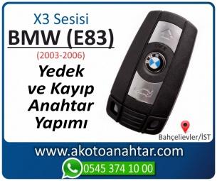 BMW X3 Serisi E83 Araba Oto Otomobil Car Yedek Kayıp Kumanda Kumandalı İmmobilizer Anahtar Anahtarı Çilingir Anahtarcı Acil Kopyalama Kodlama Locksmith Key Bahçelievler İstanbul Kayboldu Dönmüyor Okumuyor Orjinal Kontak Tamir Tamiri Çip
