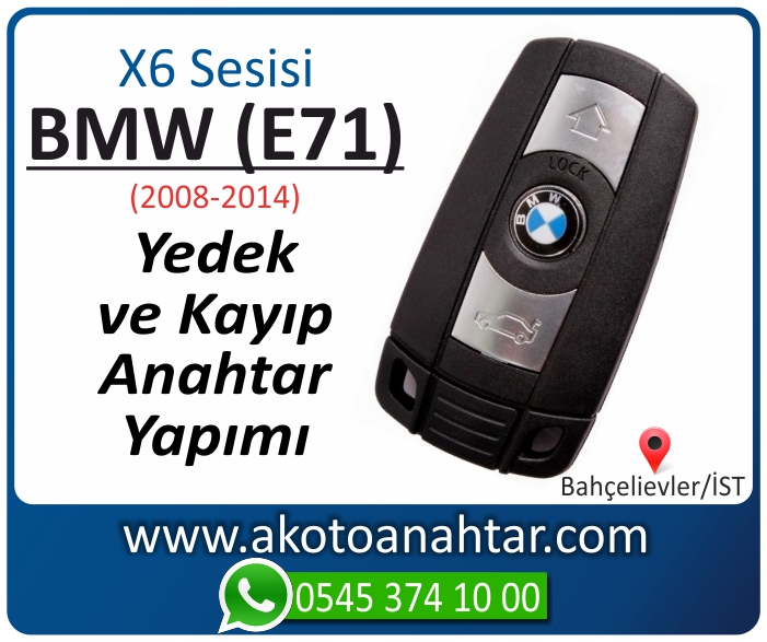 bmw x6 serisi e71 anahtari anahtar key yedek yaptirma fiyati kopyalama cogaltma kayip 2008 2009 2010 2011 2012 2013 2014 model - BMW X6 Serisi E71 Anahtarı | Yedek ve Kayıp Anahtar Yapımı
